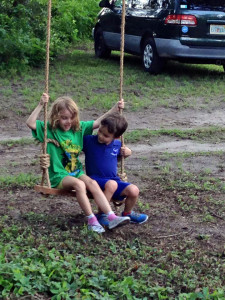 children on swing